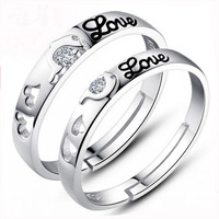 2016 New Men And Women To Tie The Knot Dolphin Silver Plated Couple Rings Hollow Double