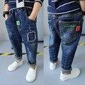 2017 весна детская одежда твердые джинсовые тонкие детские мальчиков джинсы для больших детей мальчики причинные джинсы длинные брюки