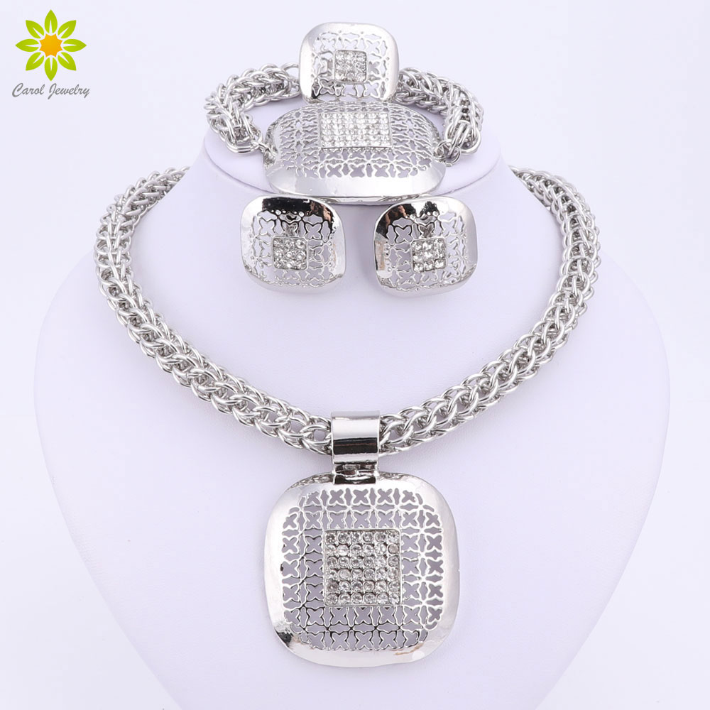Dubai Silver Plated Fine African Beads Jewelry Sets Nigerian Wedding  Accessories Bridal Collar Costume Earrings Necklace