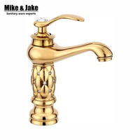 Free Shipping Bathroom Basin Gold Faucet Brass With Diamond Crystal Body Tap New Luxury Single Handle