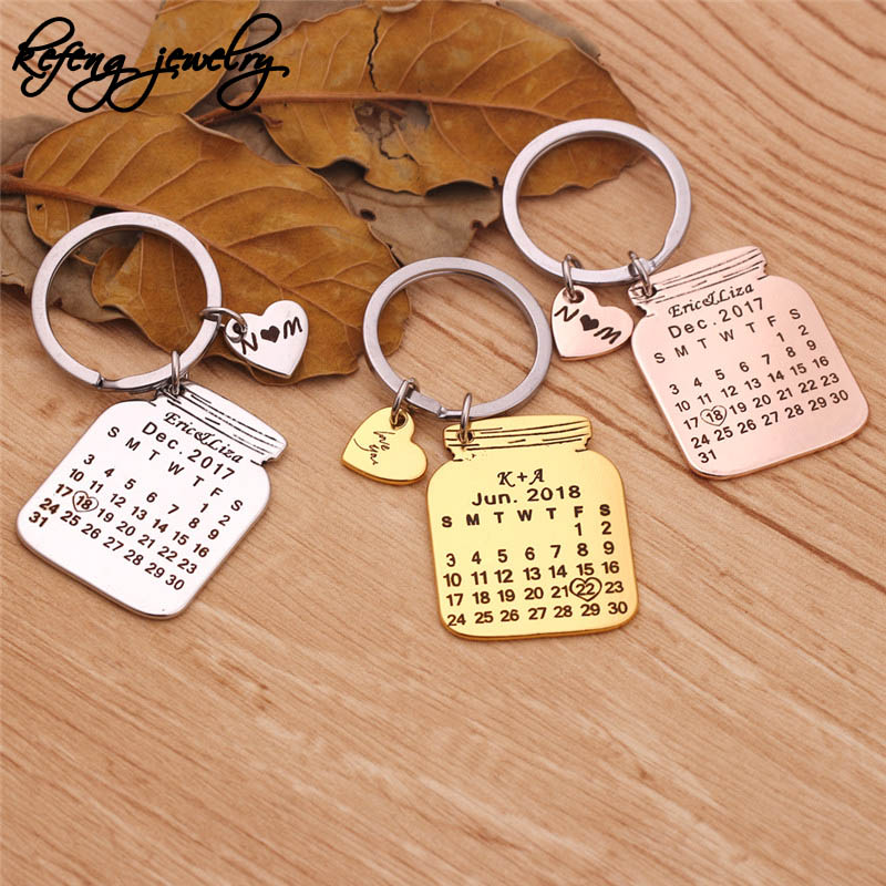 2019 Cute Metal Bottle Shape Calendar Keychain Personalized Carving 2 Initials Name Date Anniversary Key Chain Heart Llaveros