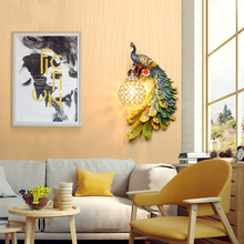 Nordic Loft Resin Peacock LED Wall Lamps Vintage Bedroom Living Room Corridor Lights Indoor Lighting Decoration Outdoor