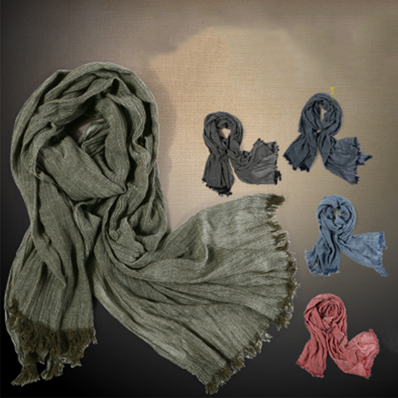 Image 5 - Fashion Classic Retro Scarf Cotton linen lady Men Autumn Multifunctional Soft warm long scarf Multicolor Tassel scarves 72*196cm-in Men's Scarves from Apparel Accessories