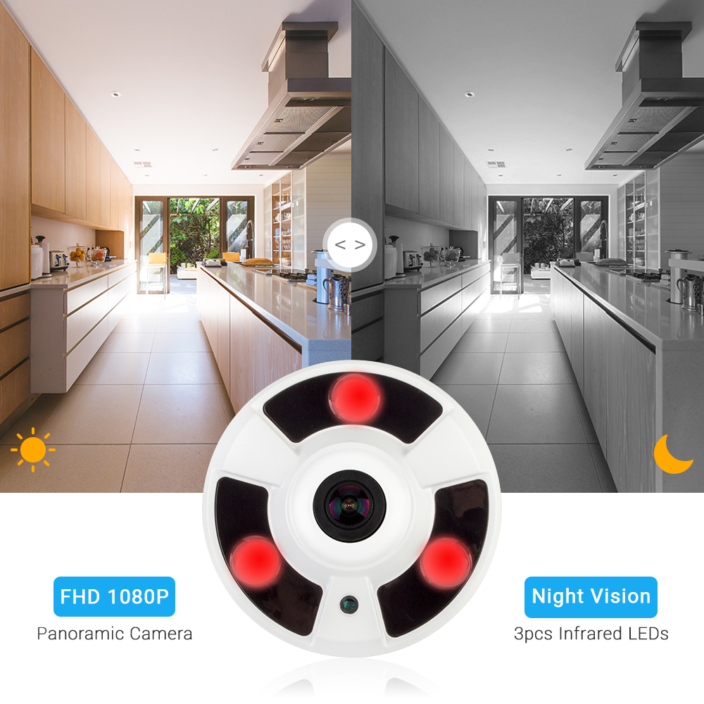 Image 4 - Hamrolte H.265 IP Camera 1.7MM Fisheye Lens Hi3516D 5MP Panoramic ONVIF IP Camera Xmeye Could Phone View DC12V POE48V Optional-in Surveillance Cameras from Security & Protection