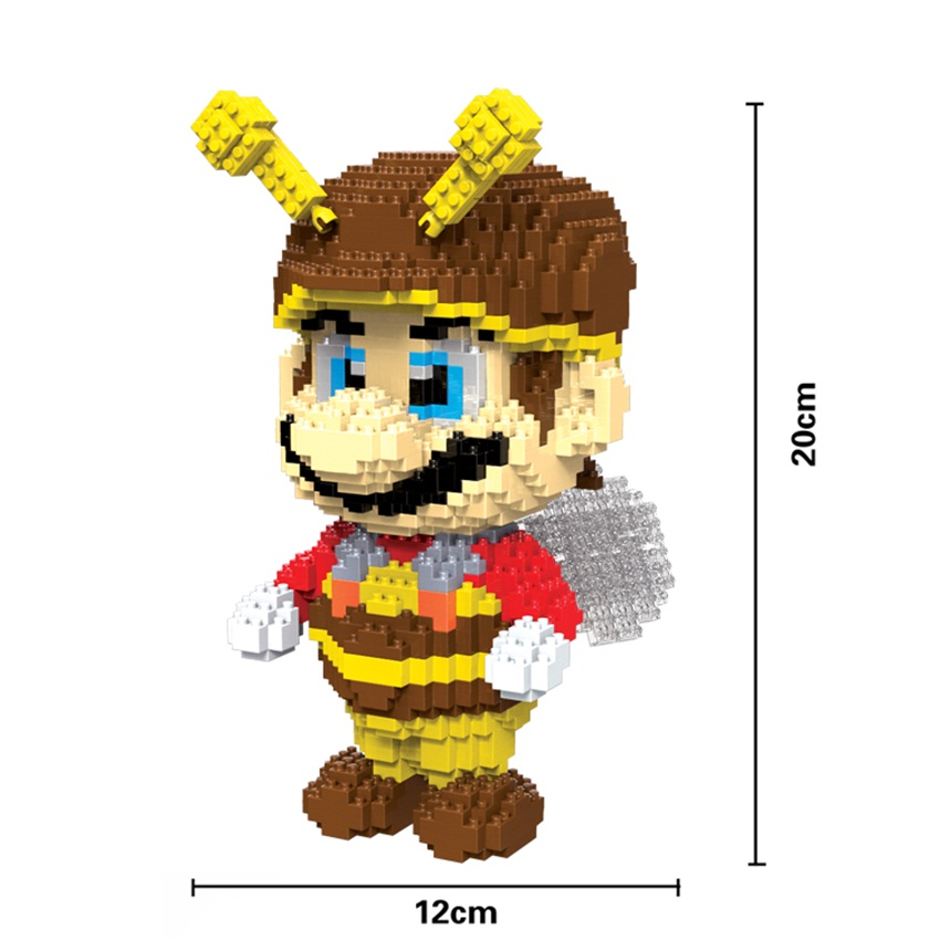 HC Big size Super Mario Small Blocks Bee Mario Micro blocks DIY Building Toys Anime Juguetes Auction Figure Kids Gifts XMAS 9010 loz super mario kids pencil case building blocks building bricks toys school utensil brinquedos juguetes menino jouet enfant