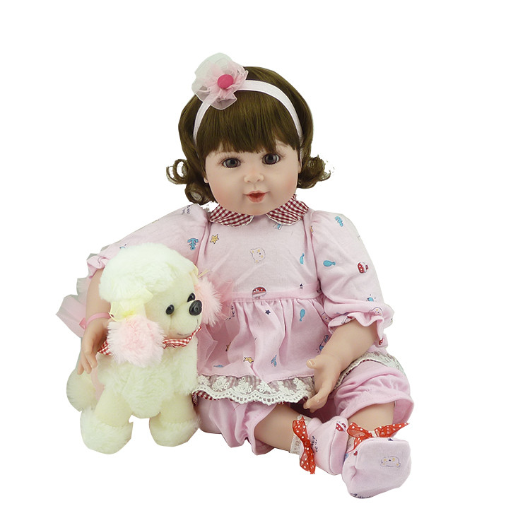 Lovely Silicone Reborn Babies Doll Toy 55cm Lovely NewBorn Girl Baby With Dog Plush Toy Girl Brinquedos Fashion Play House Toy beanie babies yo gabba gabba plex 35cm plush toys
