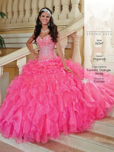 b50cdfd71d Hot Pink Quinceanera Dresses Fashionable Beads Custom Made vestidos de 15  anos Beautiful Ruffles Ball Gown vestidos de 15