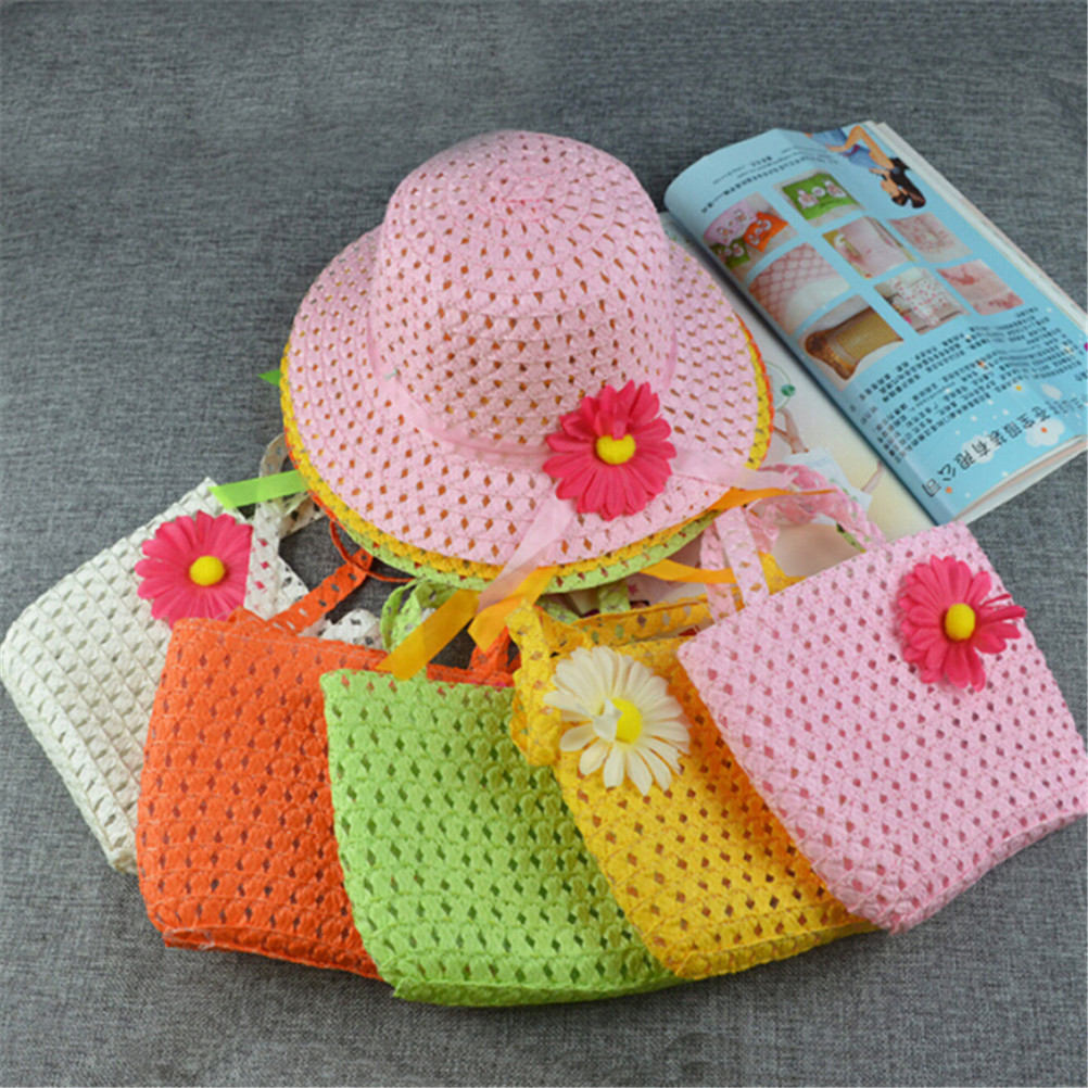 Girls Beach Hats and Bags Flower Straw Hat Tote Handbag Bag Suit Children Summer Sun Hat 54CM 8 Colors