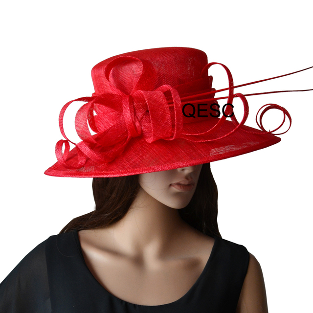 New Design Red Large brim Sinamay Hat dress hat with ostrich spine for  wedding races church 7473f2bbd296