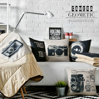 Creative Black And White Pillow Blanket Various Patterns Cotton Linen Material Office Home Car Multifunction Cushion