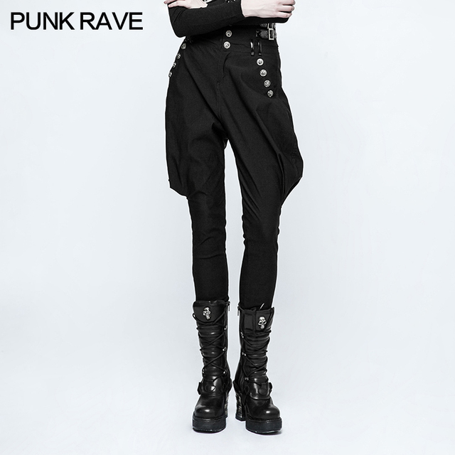 7e59d95812 PUNK RAVE Fashion steampunk Casual High Waist women Black Pants Handsome  Personality Riding Breeches pencil pants