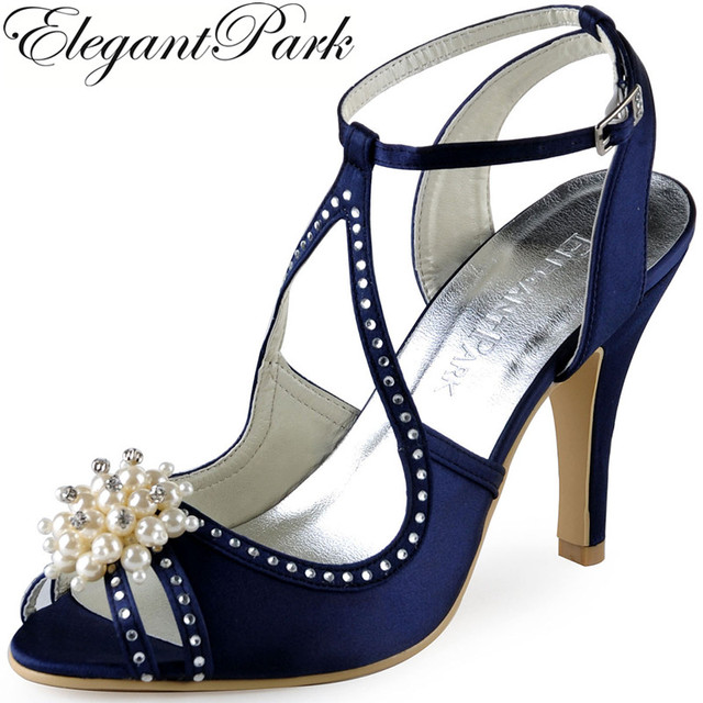 32ffa00be Summer Women High Heel Shoes Navy Blue Pink Rhinestone pearl Ankle Strap  Satin Bridesmaid Ladies Bridal Wedding Sandals EP11058