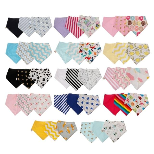 3Pcs/set Baby Bibs Infant Cotton Bandana Bibs Babador Saliva Kids Scarf Towel