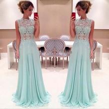 купить PRD395 Attractive A line Evening Party dress Chiffon Applique 2015 Floor length long see through prom dresses дешево