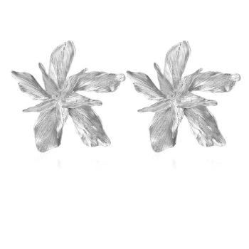 Big Flower Drop Dangle Earring for Women Earrings Jewelry Women Jewelry Metal Color: Silver