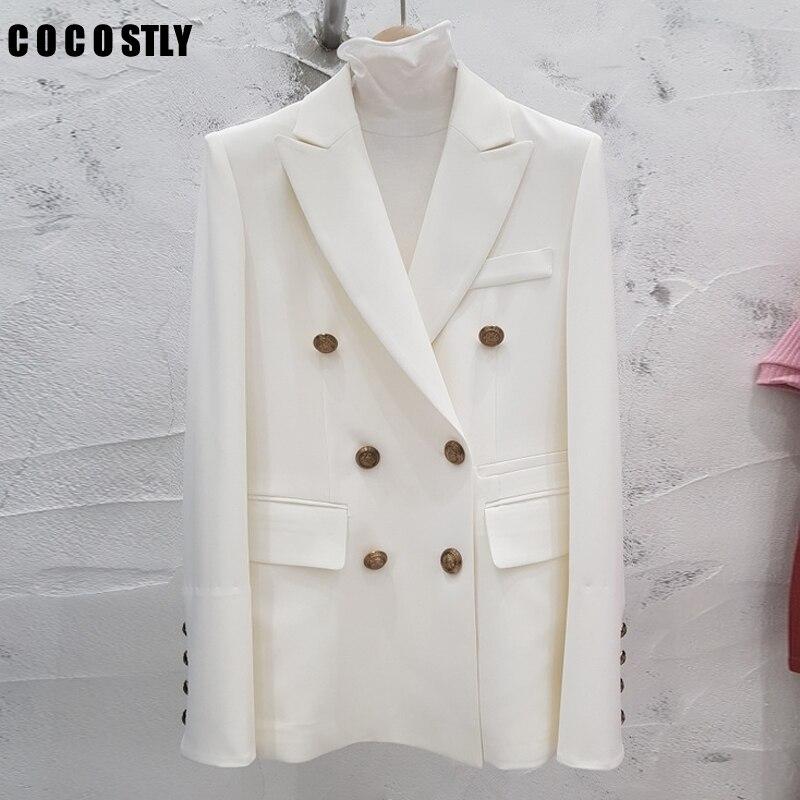 Spring Autumn Women Blazer Double-Breasted Button Notched Collar OL Work Office Black Blazer Women Suits Jacket Outwear