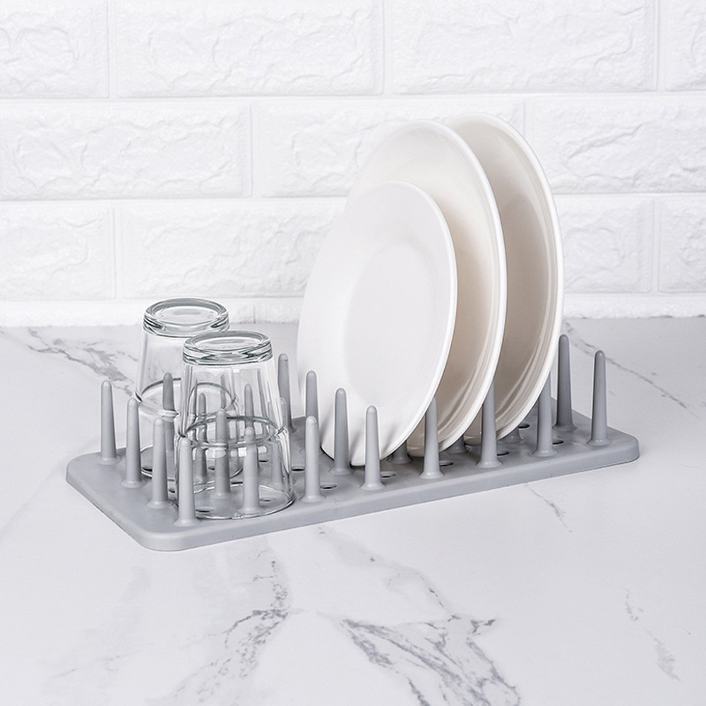 ABFP Kitchen Dish Plate Pot Lid Cover Drying Drain Holder Plastic Storage Rack Shelf Kitchen Organizer Dish Rack