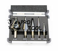 Free Shipping New Arrival High Quality 5pcs Set HSS COBALT MULTIPLE HOLE 50 Sizes STEP DRILL
