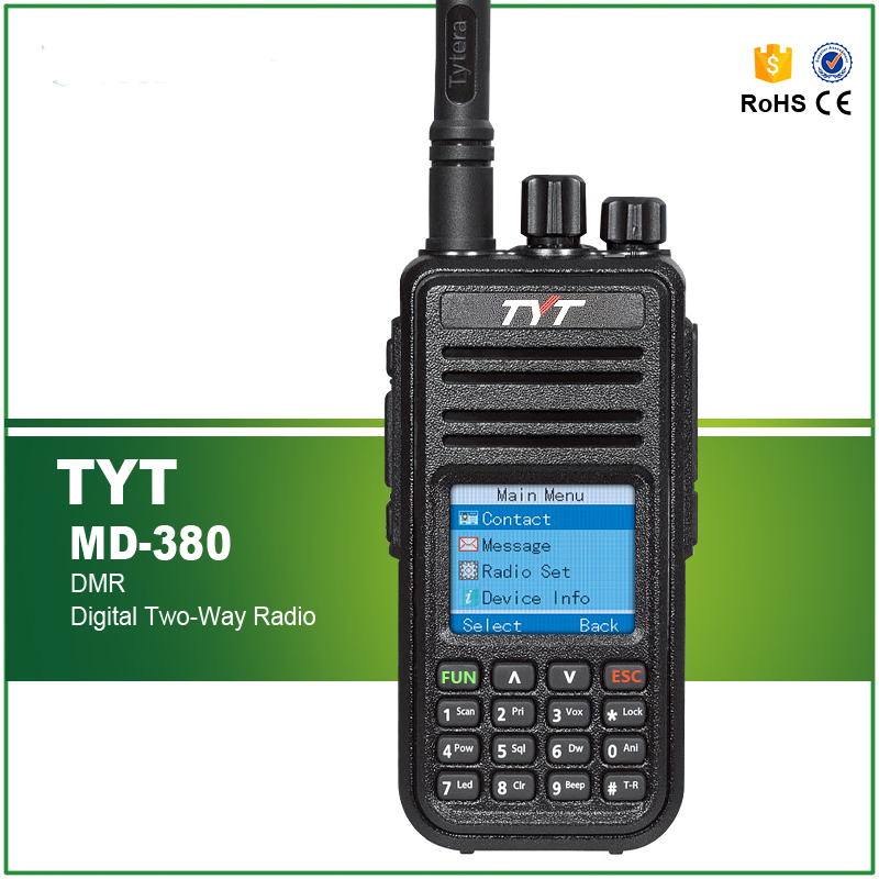 Venta caliente DMR Digital TYT MD380 UHF Walkie Talkie 1000 canales MD-380 Radio de dos vías con software de cable