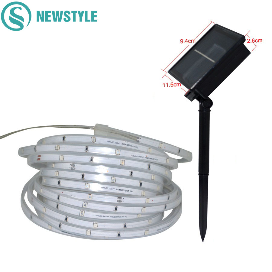 5M 100 LED Outdoor Garden Solar String Fairy Light SMD2835 IP67 Waterproof Solar Christmas Garlands String Light Ribbon Tape solar powered 0 64w 10lm 200 led blue light garden christmas party string fairy light blue 20 5m