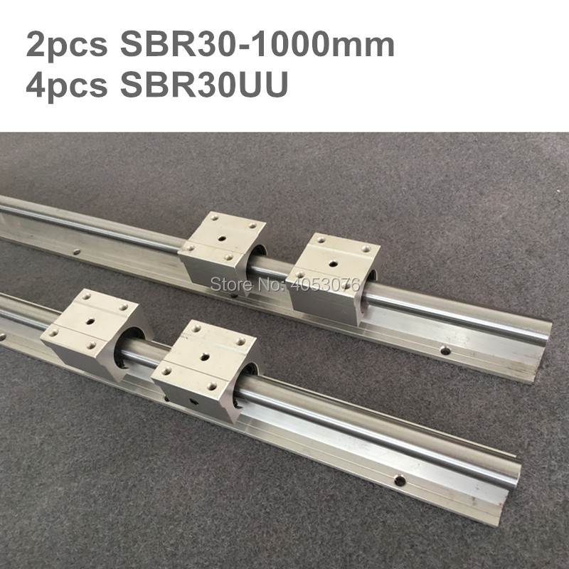 2 pcs linear guide SBR30 1000mm Linear rail shaft support and 4 pcs SBR30UU linear bearing blocks for CNC parts