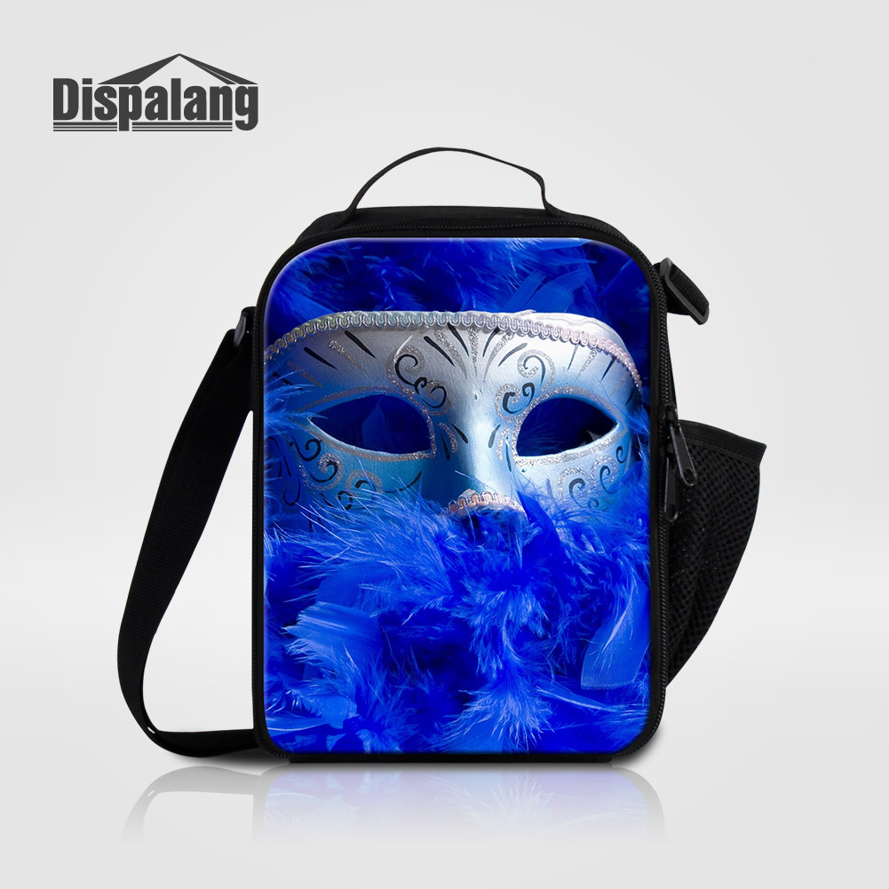 Dispalang Cool Face Mask Prints Lunch Bags For Children Samll Portable Food Picnic Cooler Bag Kids Thermal Lunch Sack For School