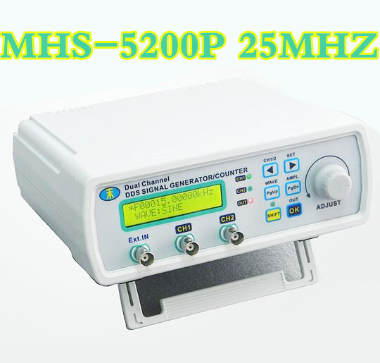 MHS-5200P 25MHz Digital Signal Generator Dual-channel DDS Amplifier Arbitrary waveform frequency generator Meter 20% off mhs 5200p digital dual channel dds signal generator arbitrary waveform function signal generator with backlight 50% off