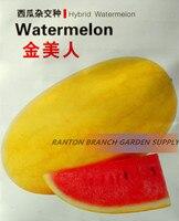 1 حزمة الأصلي ، 100 بذور/حزمة ، عظيم الجودة الأصفر الجلد الأحمر f1 الهجين بذور البطيخ فاكهة العصير للصيف