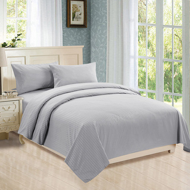 Luxury Bed Sheets Deep Pocket Twin Queen King Cal King Bedding Sets  Microfiber Sateen Dobby Stripe