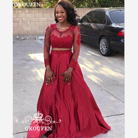 2019 Red Two Piece Crop Top Prom Dresses With Long Sleeves Appliques Lace Sheer Neck Party Evening Dress For Women