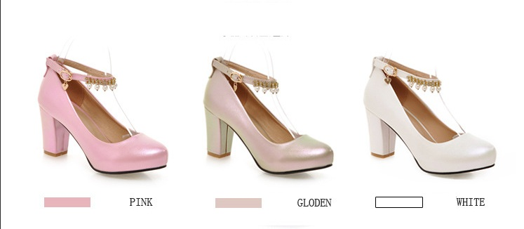 2017 Chunky High Heeled Pink Bridal Wedding Shoes Beaded White Female Buckle Elegant Pumps Silver Gold0