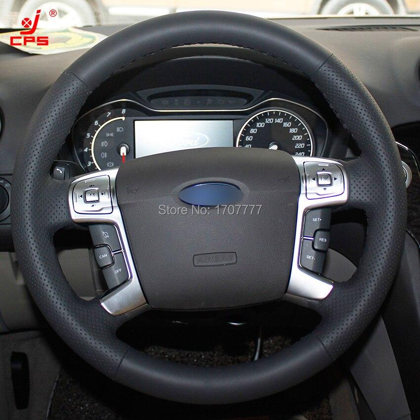 Prix pour Noir En Cuir cousu Main Couverture De Volant de Voiture pour Ford Mondeo 2007-2012 Mk4