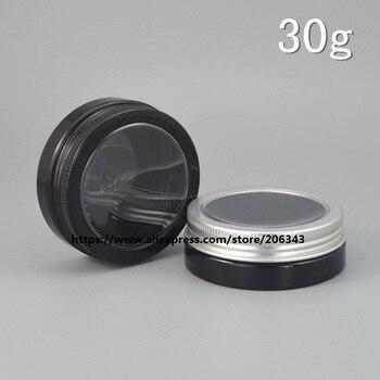F/shipping 30g black PET bottle/jar/pot with window lid cream/gel/essence/moisturizer/mask/art nail/wax /skin care  packing