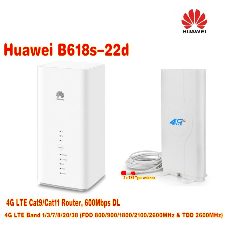 Huawei B618s-22d 4G LTE VoIP CPE Wireless Router plus 4G LTE MIMO 49dBi TS9 Connector huawei 4g router huawei e5573 portable lte 4g wireless router with sim card slot 4g signal amplifier antenna 49dbi ts9