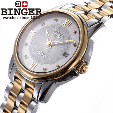 Men full steel Auto Mechanical analog Roman Watch waterproof relogio casual watches luxury brand 18k Gold Binger wristwatch