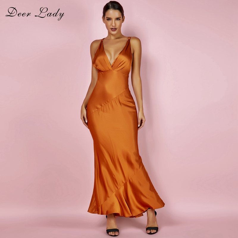Deer Lady Maxi Bodycon Dress Summer 2018 Brown V Neck Sleeveless Dress Elegant Satin Smooth Bodycon Sexy Dress Backless
