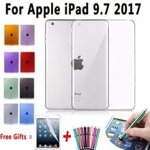 Cubierta suave de TPU para Apple iPad 9.7 Caso 2017 Caso de Silicona Transparente para el ipad 9.7 A1822 A1823 Delgado Cubierta Transparente para el Nuevo ipad 9.7