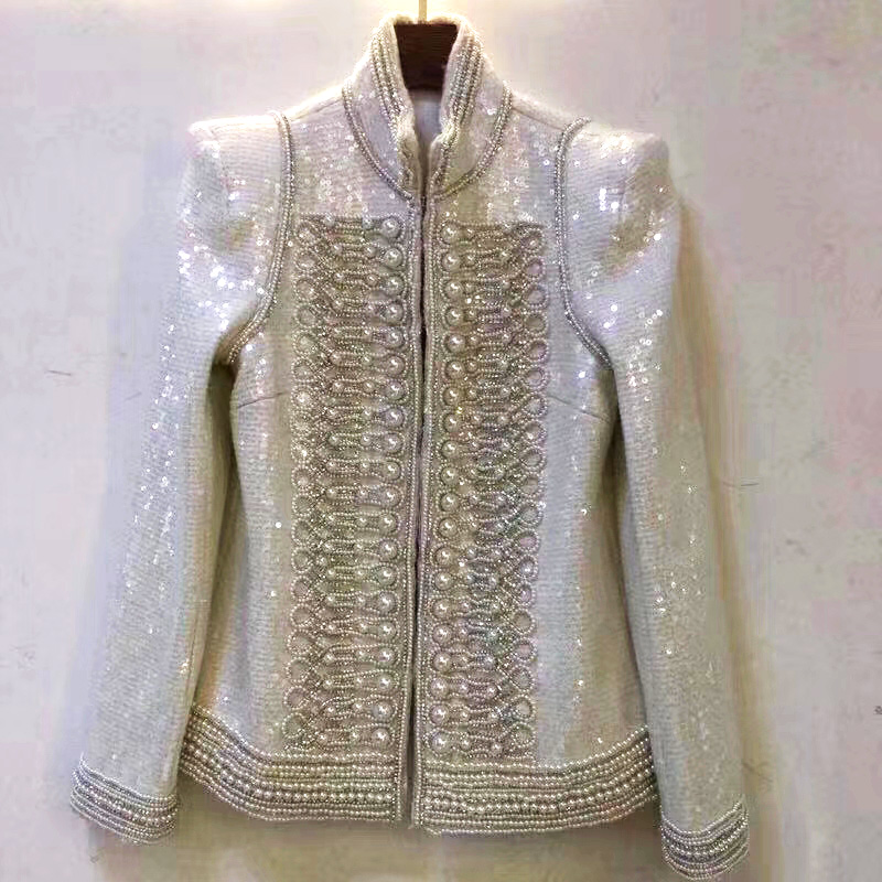 Mujer Hall De D'hiver Super Made Luxe Du Travail Feminino Blazer Hand Incroyable Blaser Manteau Chaqueta Perles Élégant Intensive znw564qn