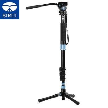 SIRUI aluminium Monopod + hydrauliczna głowica wideo EP-204S + VA-5 przenośny zestaw fotograficzny stabilny Monopod podróży dla Mini aparatu cyfrowego