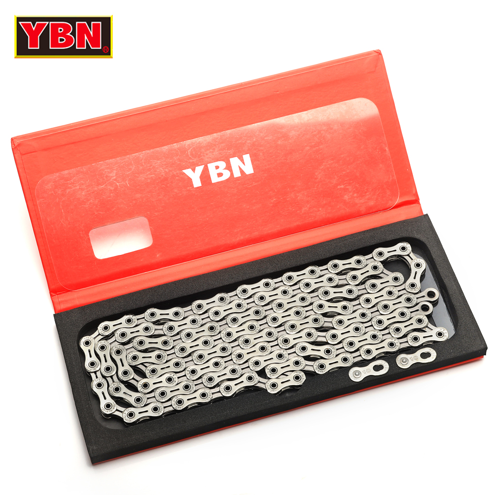 YBN chain SLA silvery bicycle full hollow 10 speed bike chain mountain road bike 10 variable ultralight 248g 116 links boxed 2017 new original ybn 11 speed diamond black mtb mountain road racing bike chain sla 110bg