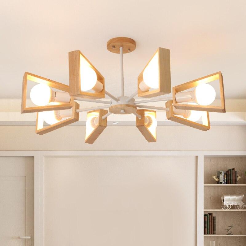 Modern Wood Chandelier Lighting for Living room Bedroom Shop japanese hanging lamp Black white Wood chandelier lustre suspension