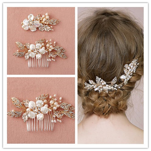 Beauty 2 Pieces Hair Accessories Floral Pearl Shell Hair combs Crystal Pearl Bridal Hair Clips Jewelry Zinc Alloy Hair Accessory 2 pieces lot kids hair clips crown snap clip crystal hairpin barrette hair accessories girls clips