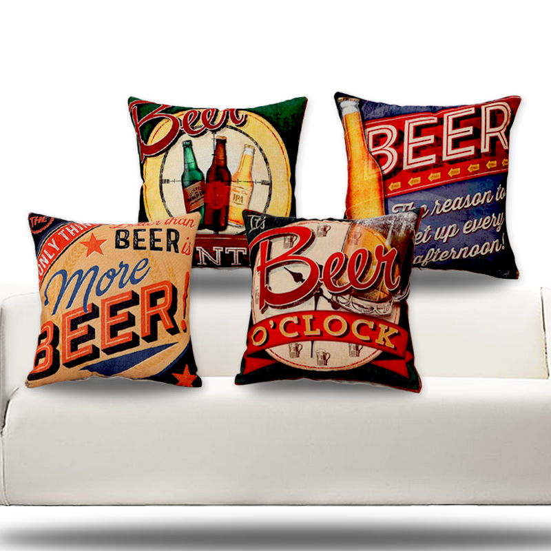 RUBIHOME (4pieces/lot)Happy Bar Beer Desgin Cushion Covers Pillow Cover Decorative for KTV Discotheque Sofa Pub Decor