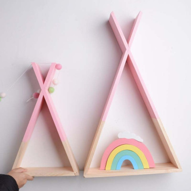 Lovely Triangular Storage Shelves Nordic Style Kids Baby Room Wooden Decorative Shelf Book Shelf for Bedroom Home Decoration 1
