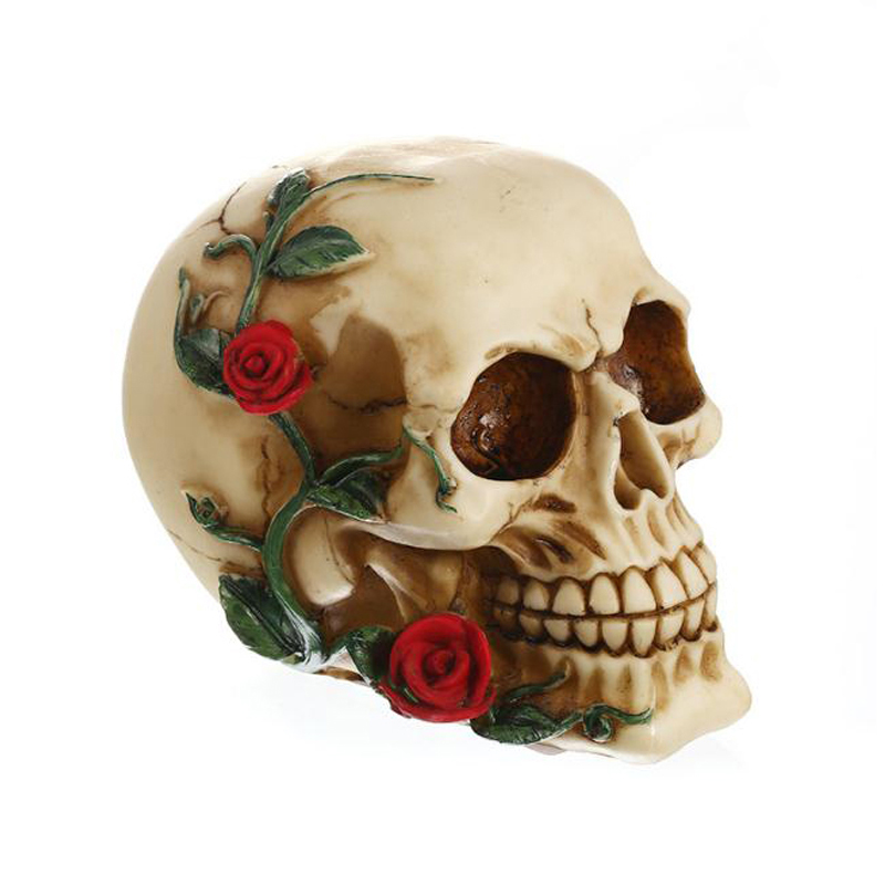 Skull Abstract Sculpture Decor Home Statue Decoration Accessories Handmade Resin Craft Statue for Decoration Rose Skull Figurine Statues & Sculptures     - title=