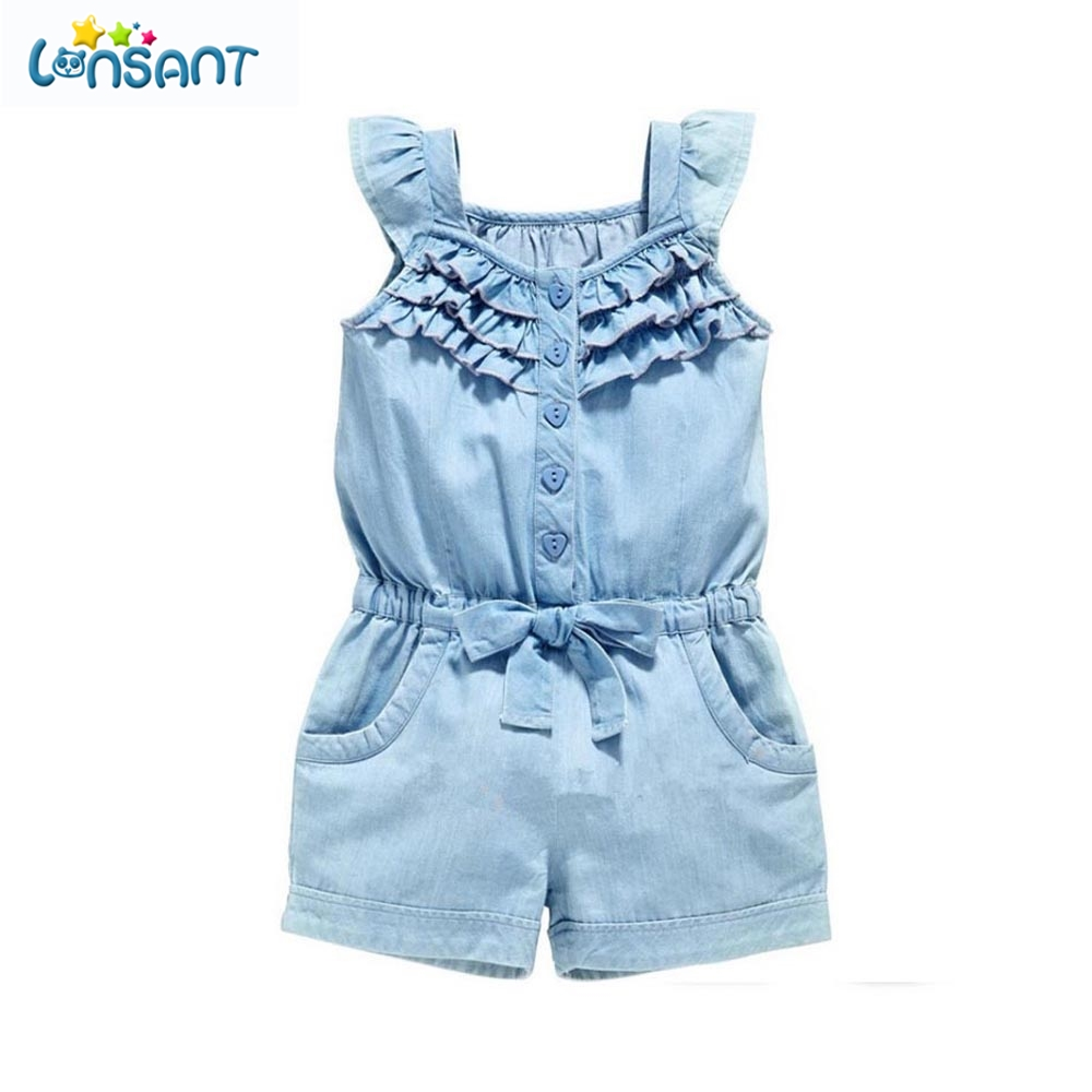 LONSANT 2018 Summer Baby Girl Odzież Odzież Pajacyki Denim Blue Cotton Washed Jeans Bez rękawów Bow-Knot Jumpsuit Dropshipping
