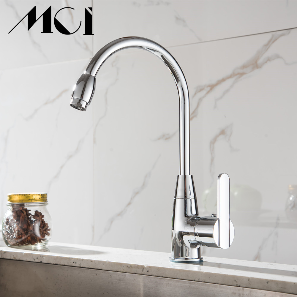 Zinc Alloy Plastic Handle Chrome Finish Kitchen Faucet Hot And Cold