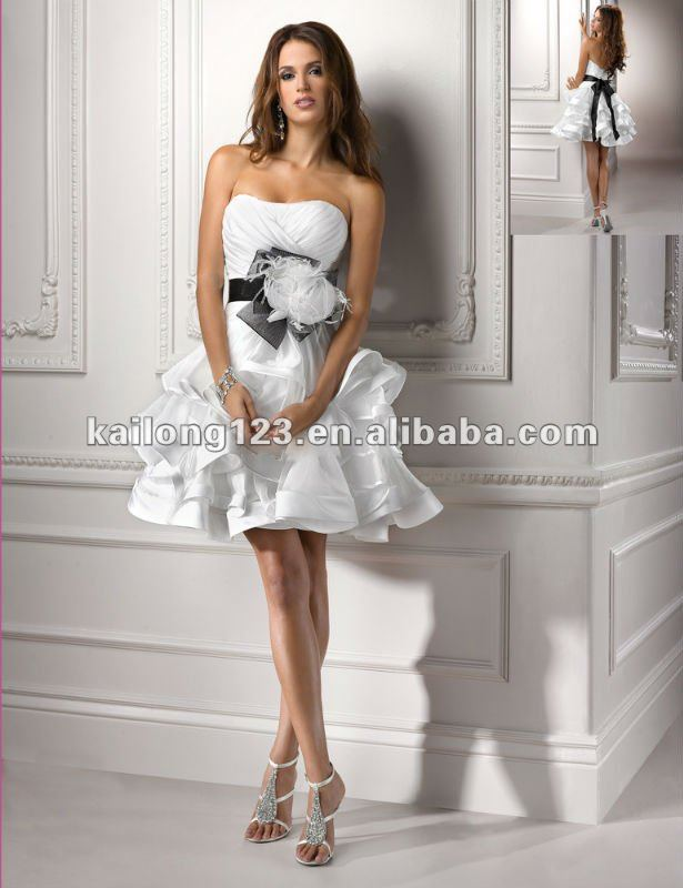 aliexpresscom buy strapless mini tiered a line feather crystal flower belt satin organza sexy short lace up back wedding dresses from reliable wedding