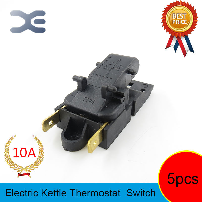 цены на 5pcs T125 XE-3 JB-01E 10A Electric Kettles Switch Spare Parts Kettles Kitchen Appliance Parts Thermostat for T125 XE-3 JB-01E