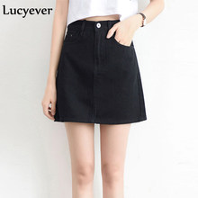 Lucyever Fashion Korean Summer Women Denim Skirt High Waist Black Mini Skirts Package Hip Blue Jeans Harajuku Plus Size Cotton(China)